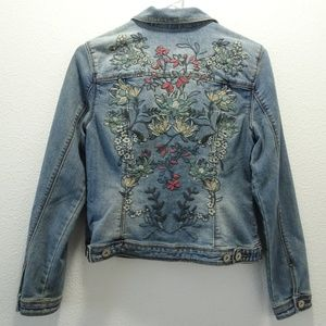 Baccini Embroidered Denim Jean Jacket PS NWT